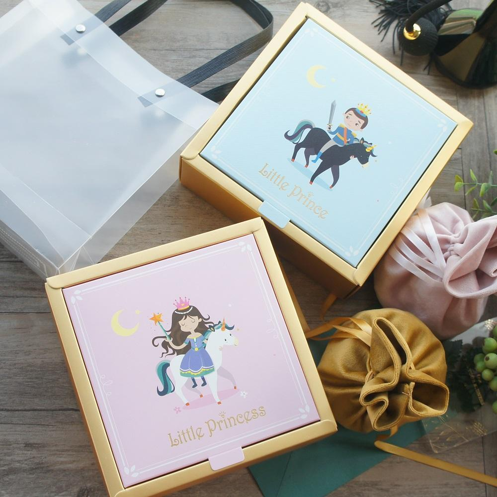 15*15*6.5cm 3set Gold Pink Blue Princess Prince Design Paper Box + Bag As Baby Shower Birthday DIY Gift Packaging Use