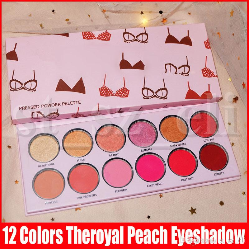Eye Makeup Valentine Day 12color Theroyal Peach Eyeshadow Palette Matte Shimmer Long Lasting Bikini Printing Valentine Eye Shadows