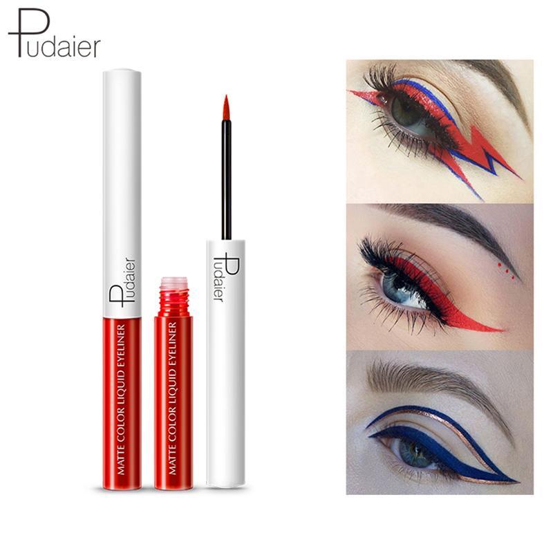 00691edc1fa PUDAIER 15 Colors Liquid Eyeliner Waterproof Matte Pigment Eyes Makeup for  Eye Shadow Cosmetics Red Blue White Eye Liner Pen 0605159