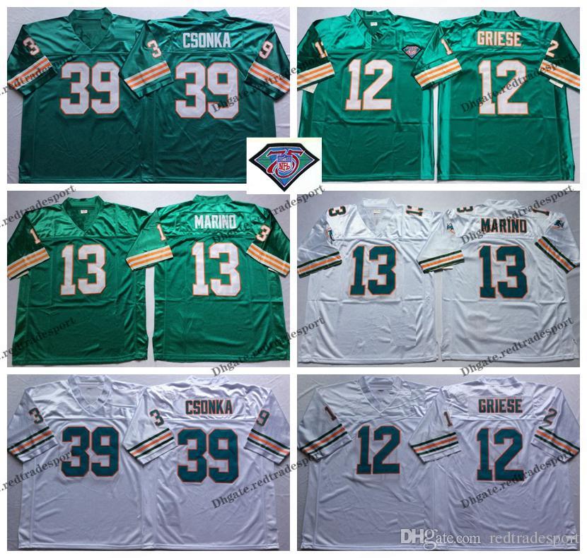 30a0225633c 2019 Vintage Miami 75th Dolphins 12 Bob Griese 13 Dan Marino 39 Larry  Csonka Football Jerseys Cheap Larry Csonka Teal Green Stitched Shirt M XXXL  From ...
