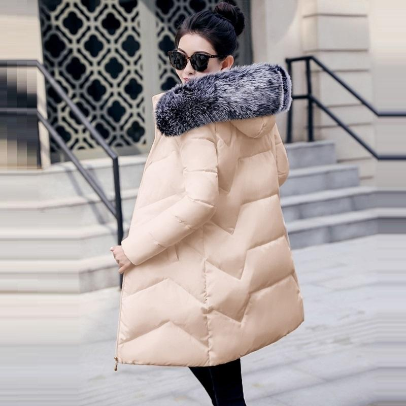 Winter Jacket Women Parkas for Coat Female Fashion Down Jacket With a Hood Large Faux Fur Collar Ladies Coat warm Winter Outwear V191022