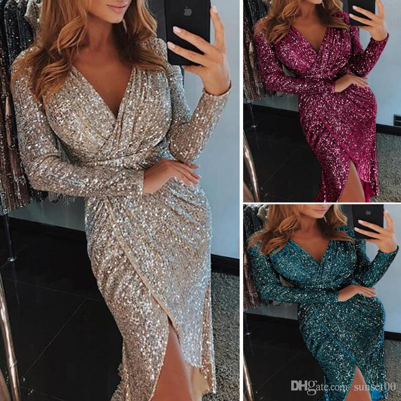 5b8507b1 2019 New Ladies Elegant Sequins Dress Long Sleeved V Neck Shiny Dress Party  Evening Cocktail Sexy Dress Plus Size From Sunset00, $9.05 | DHgate.Com