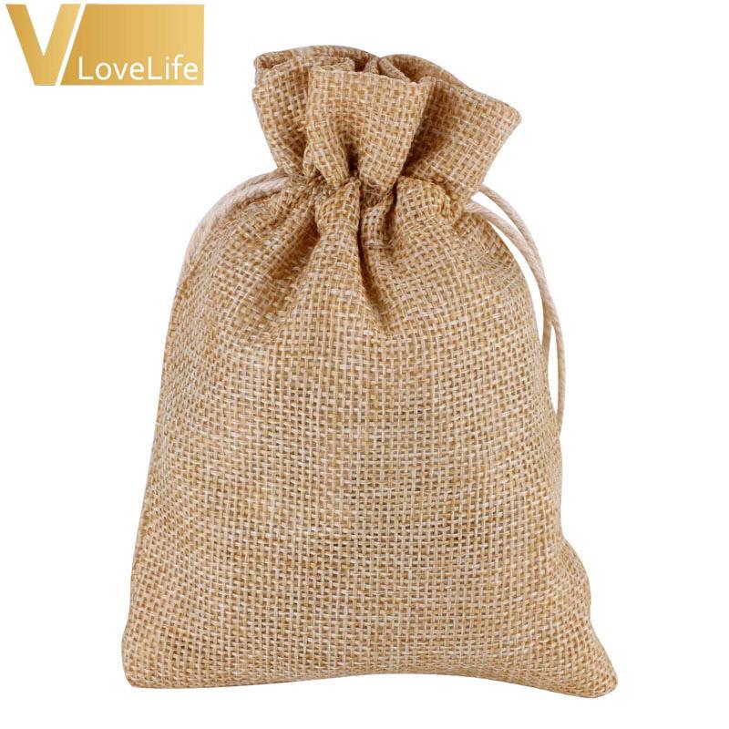 9cm * 13cm Vintage naturale tela Hessia regalo sacchetti di caramelle festa di nozze favore caramelle regalo sacchetto sacchetto di iuta regalo