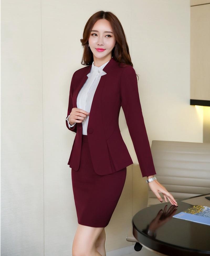 474a3b18f AidenRoy Formal Diseños de uniformes de oficina para mujer Trajes de  negocios Conjuntos de faldas y chaquetas Señoras Vino Rojo Blazer Elegante