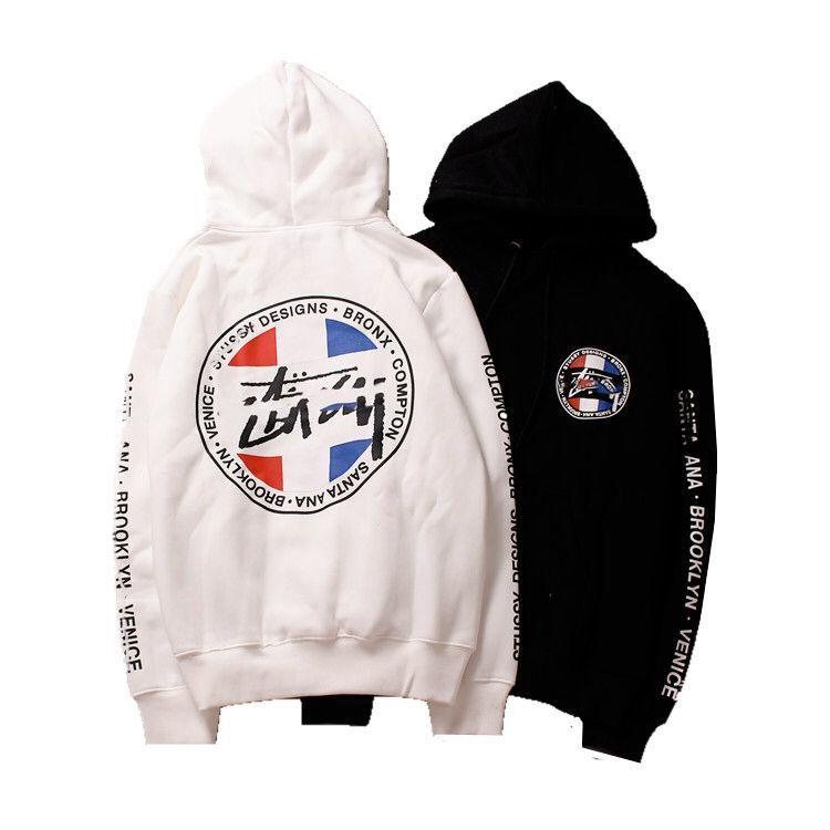 Fashion-Designer mens hoodie famous brand Stussys world tour flag cotton hooded sweater new women wild hoodies loose plus velvet jacket S-XL