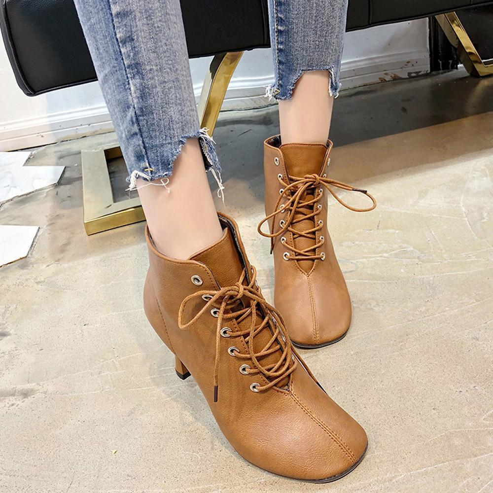 f46406a2ef0 KLV 2019 NEW shoes woman boots High Heel bottes femme 2019 nouveau Martain  Boot Leather Lace Up Solid Color Square Toe Shoes #78