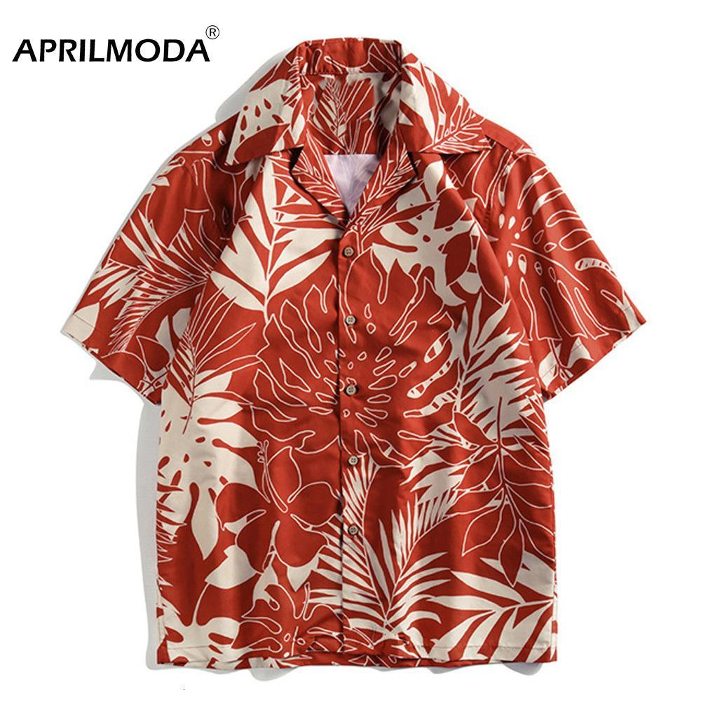 Retro Vintage Casual Men Shirt Short Sleeve Summer Beach Hawaii Casual Male Flower Leaf Print Shirt Large Size Mens Clothing