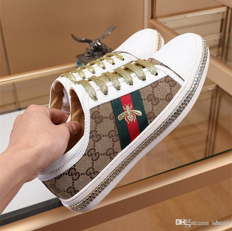 With Box Luxury Embroidery Small Bee Snake Casual Flat Shoes White Black Low Cut Women Loafers Sneakers Designer Shoes