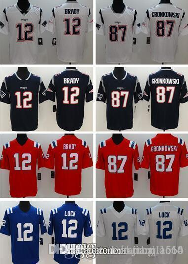 New 12 Tom Brady 87 Rob Gronkowski Patriots Jersey 11 Julian Edelman ... fa56a24e6