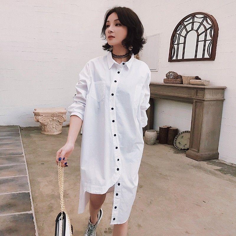 2019 LIVIVIO Plus Size Women Long Sleeve Shirt Dress 2019 Summer ...