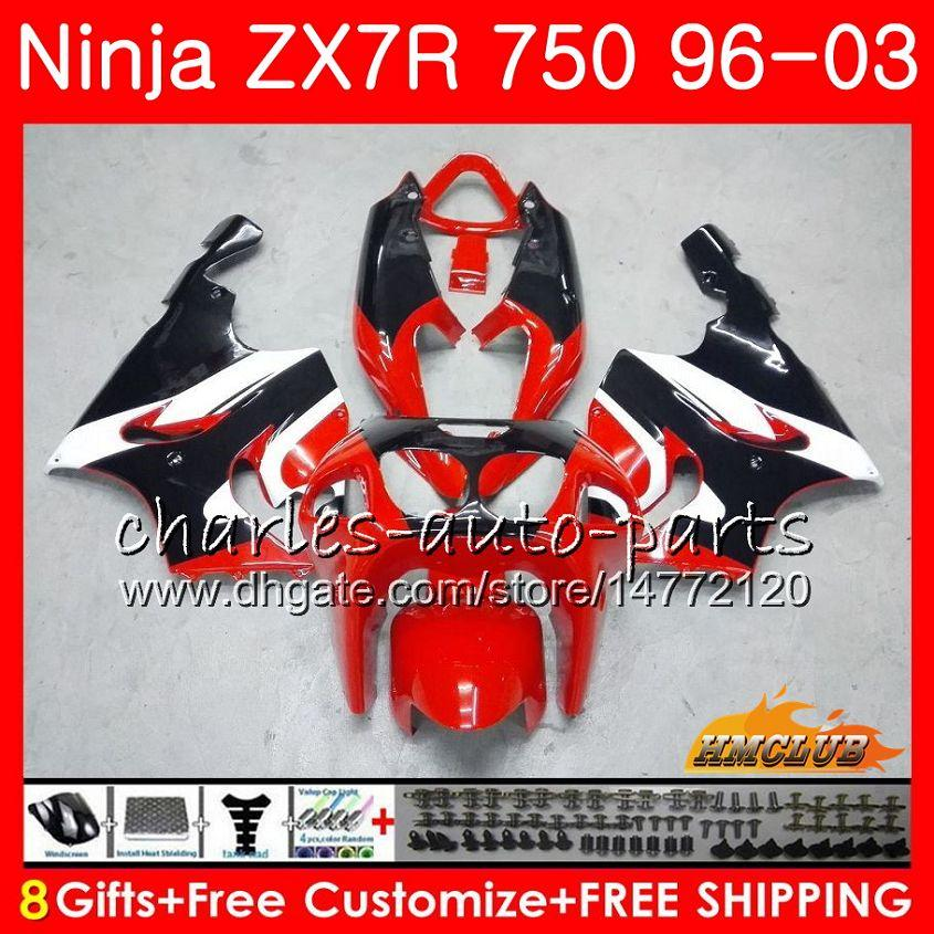 Body For KAWASAKI NINJA ZX 7R hot red black ZX750 ZX-7R 1996 1997 1998 1999 2000 28HC.5 ZX-750 ZX 7 R ZX 750 ZX7R 96 97 98 99 00 Fairings