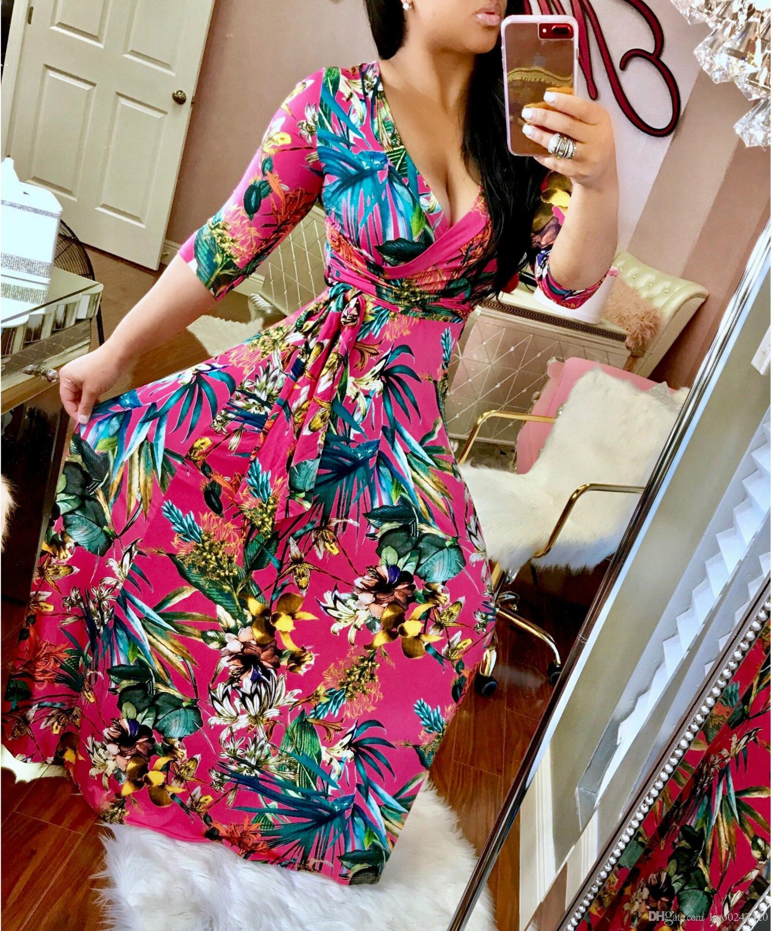 Free Ship 2019 Women Fashion V-Neck Floral Print Maxi Dresses Casual Waistband Floor Length Dress Long Sleeve