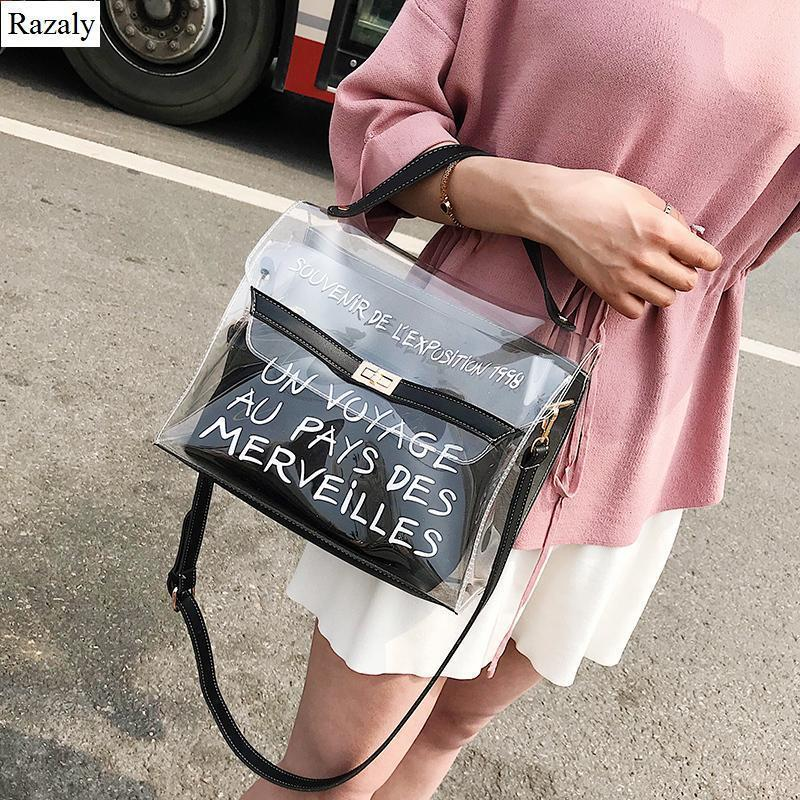 00c847cff990 Razaly Brand Summer Beach Shopping Tote Travel Pvc Clear Bag Large Handbags  Chain Letter Transparent Big Bolso Shoulder Nice Handbags For Women Leather  ...
