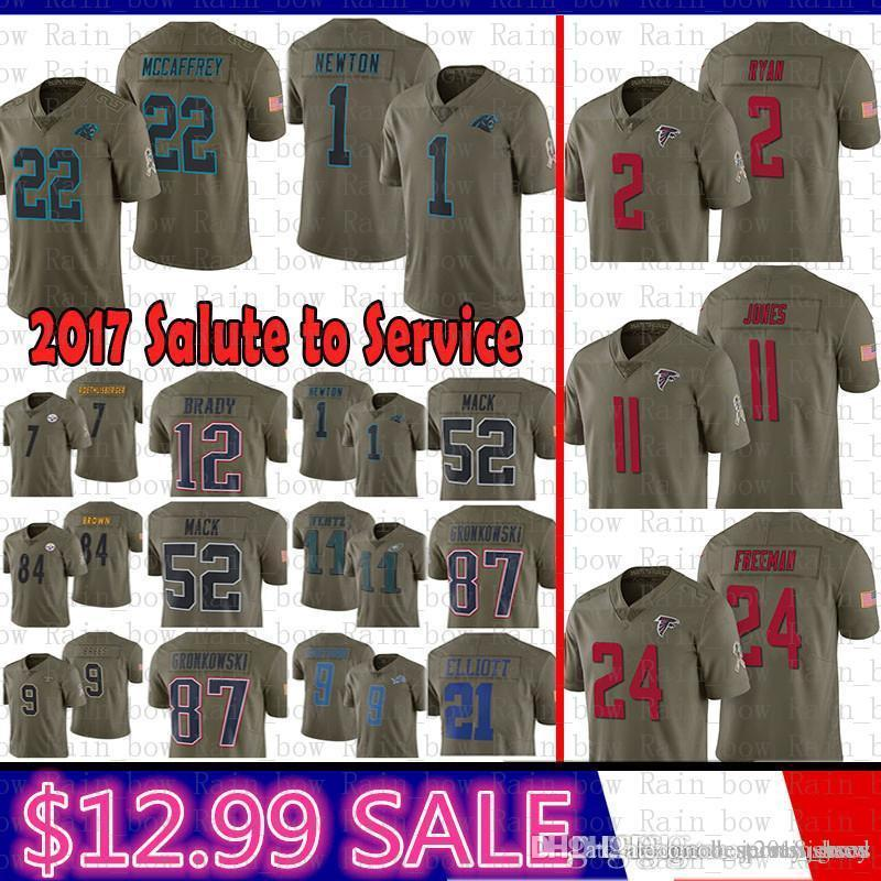 big sale 2620a ade15 best 2 Matt Ryan Atlanta 2017 Salute to Service Falcons Jersey 11 Julio  Jones 24 Freeman Carolina 22 Panthers Christian McCaffrey 1 Newton