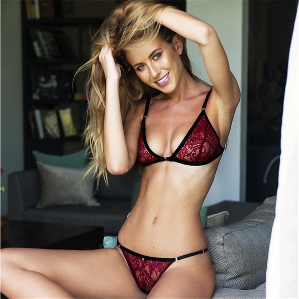 Kırmızı Dantel Seksi Sutyen Set Lingerie Set Kadınlar için Ayarlanabilir Sapanlar Bralette İç 3 Nokta Bikini Set Yumuşak Külot