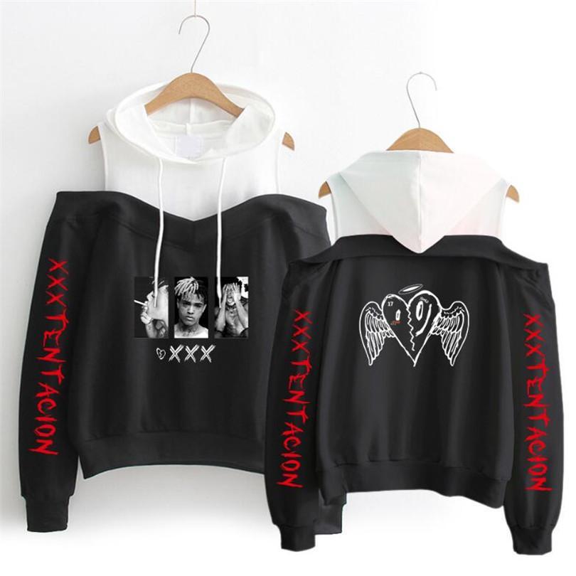 7f5848e07ea 2019 XXXTentacion Hoodies Sweatshirt Women Pullover Streetwear Sudadera  Hombre Hip Hop Long Sleeve Off Shoulder Funny Print Hoodies From Tutucloth