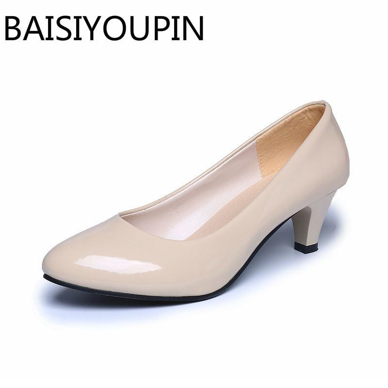 ac04c8f1a81f 2019 Vestido Four Seasons de charol zapatos de tacón bajo mujer zapatos  profesionales para mujer Zapatos de trabajo de boca baja Negro Blanco  Zapato ...