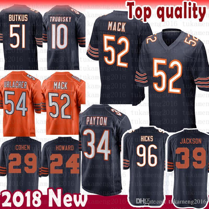Compre 52 Khalil Mack 34 Walter Payton Chicago Bears Jersey 54 Brian ... 6fe8a9d15