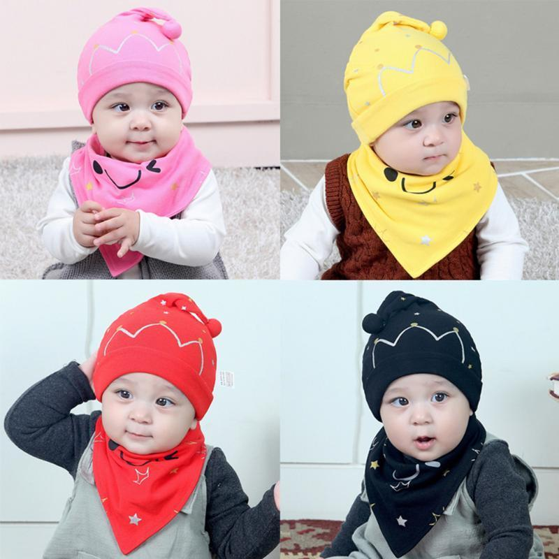 3d43ddc4c505 2019 Baby Hat With Bib Set Newborn Baby Cute Crown Print Headwear ...