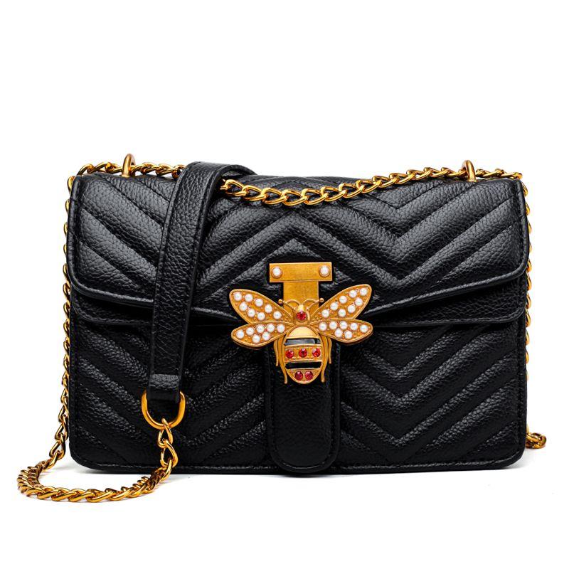 fc7abf4fec Handbag Leather Bee Decoration Designer Handbags Black Women Handbag Luxury Small  Shoulder Bag Crossbody Bags Girls Mens Leather Bags Laptop Messenger Bags  ...