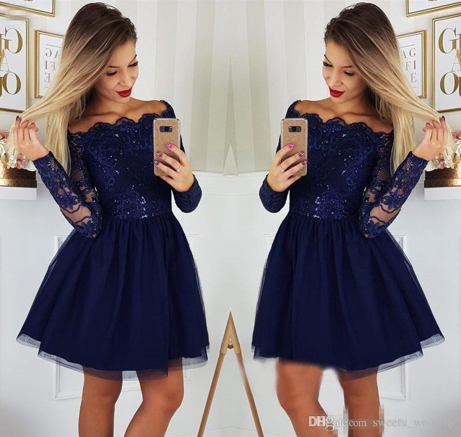 Navy Blue Long Sleeves Homecoming Dresses 2019 A Line Applique Juniors Sweet 15 Graduation Cocktail Party Gowns Plus Size Custom Made