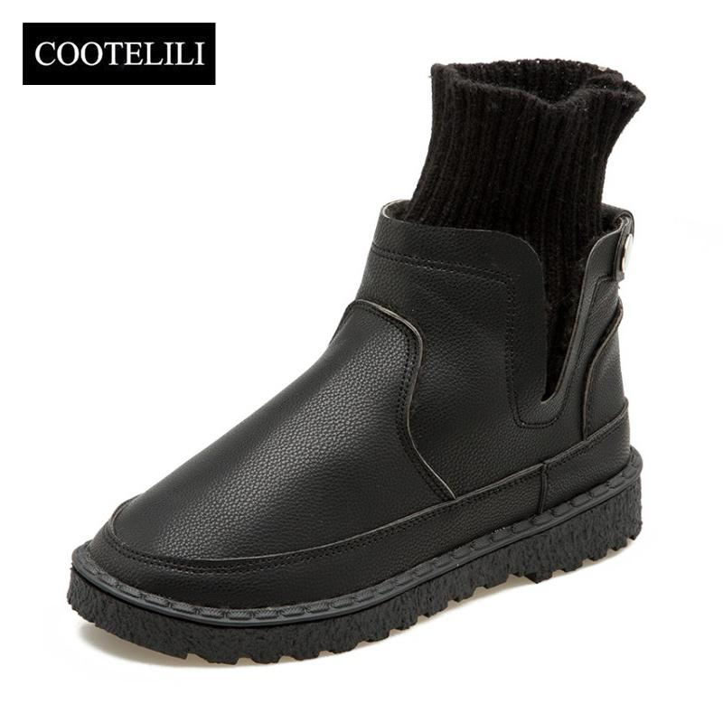 64b2b276 Compre COOTELILI Mujer Botines Slip On Zapatos De Moda Mujer PU Pisos De  Cuero Zapatos Otoño Invierno Calcetines De Punto Señoras Botas 35 40 A  $25.47 Del ...