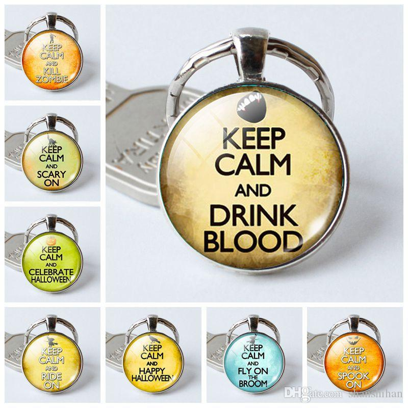 2019 new fashion charm pendant key ring Keep calm time gemstone key ring ring creative gift Crystal keychain