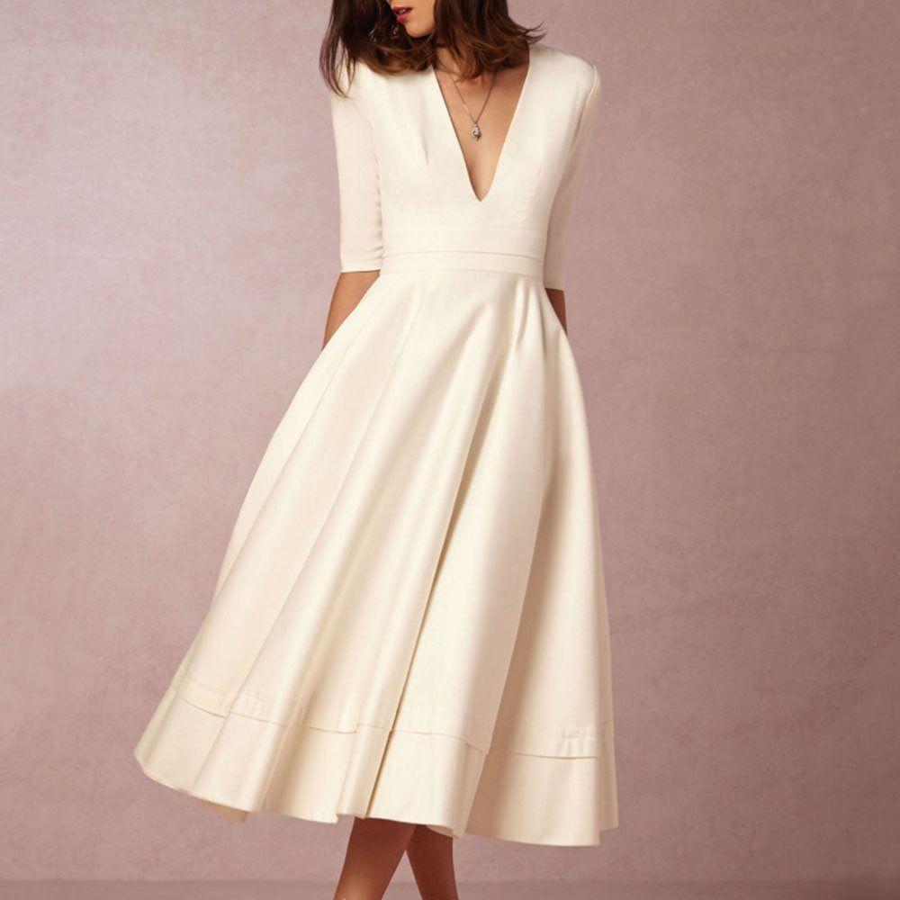5b562731bcbd2 Sisjuly White Dress Vintage Women Deep V Sexy Pleated Plain Red Blue Simple  Fashion Street Elegant Party Casual Swing Dresses Q190508