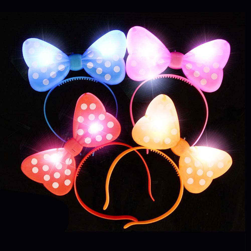 Girls LED Flashing Light up Bowknot Headband Hair Band Hoop Toy Glow Party Supplies Glowing String Lights Plush Wrapped