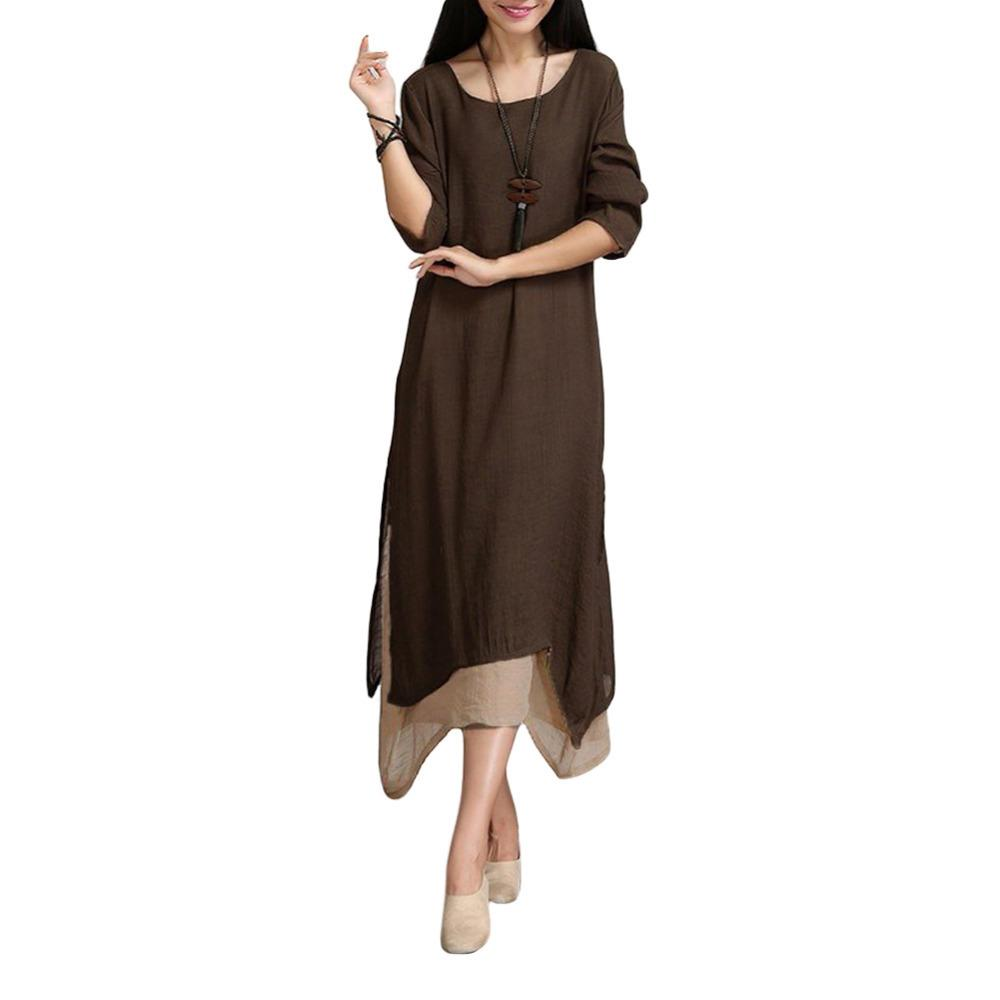5XL Plus Size Cotton Fall Dress Women Contrast Double Layer Vintage ...