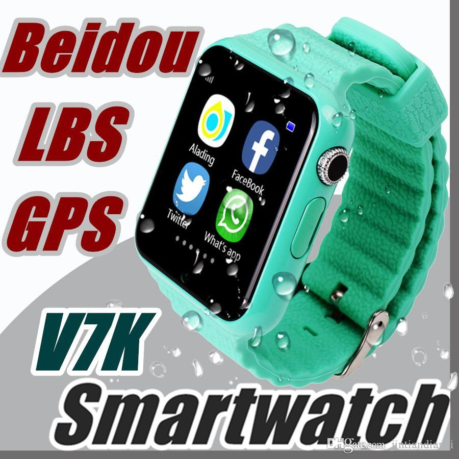 Original V7K GPS Bluetooth Smart Watch for Kids Boy Girl Apple Android Phone Support SIM /TF Dial Call and Push Message D1-BS