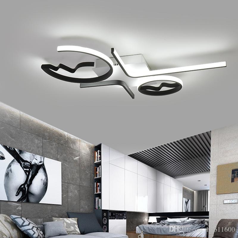Salon Lampara Pour Moderne Verre Plafonnier Led Plafonniers Luminaire De Lampe Techo Aluminium Chambre 35L4ARj