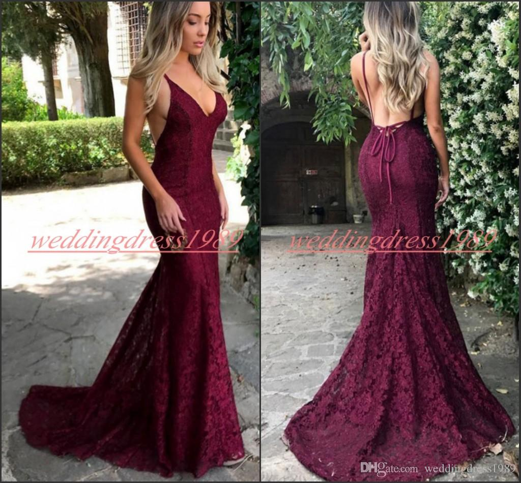 e44f975ea23 Hot Selling Lace Mermaid Grape Prom Dresses Straps Backless Fitted African  Style Evening Gowns Long Party Special Occasion Robe De Soiree Lime Green  Prom ...