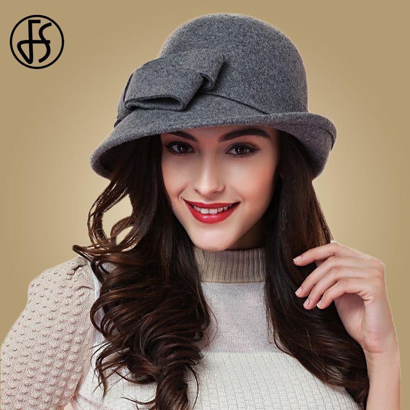 148b43cd83c FS Elegant Bowknot Ladies Wool Felt Bowler Black Red Fedora Hats For Women  Wide Brim Vintage Floppy Winter Church Cloche Hats D19011102 Boonie Hat  Fedoras ...