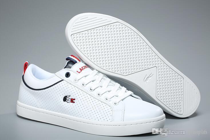 23c54f15468 Acheter LACOSTE Gr. 40 45 En Toile Unisexes Chaussures De Mode Chaussures  De Marche Pour Les Hommes Et Les Femmes Baskets Souliers Simple D homme De   41.63 ...