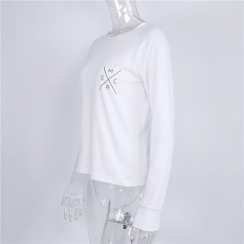 Mode T-shirt manches longues femmes en vrac Casual Shirt Automne manches longues Tops Blanc Lettre Slim T-shirt