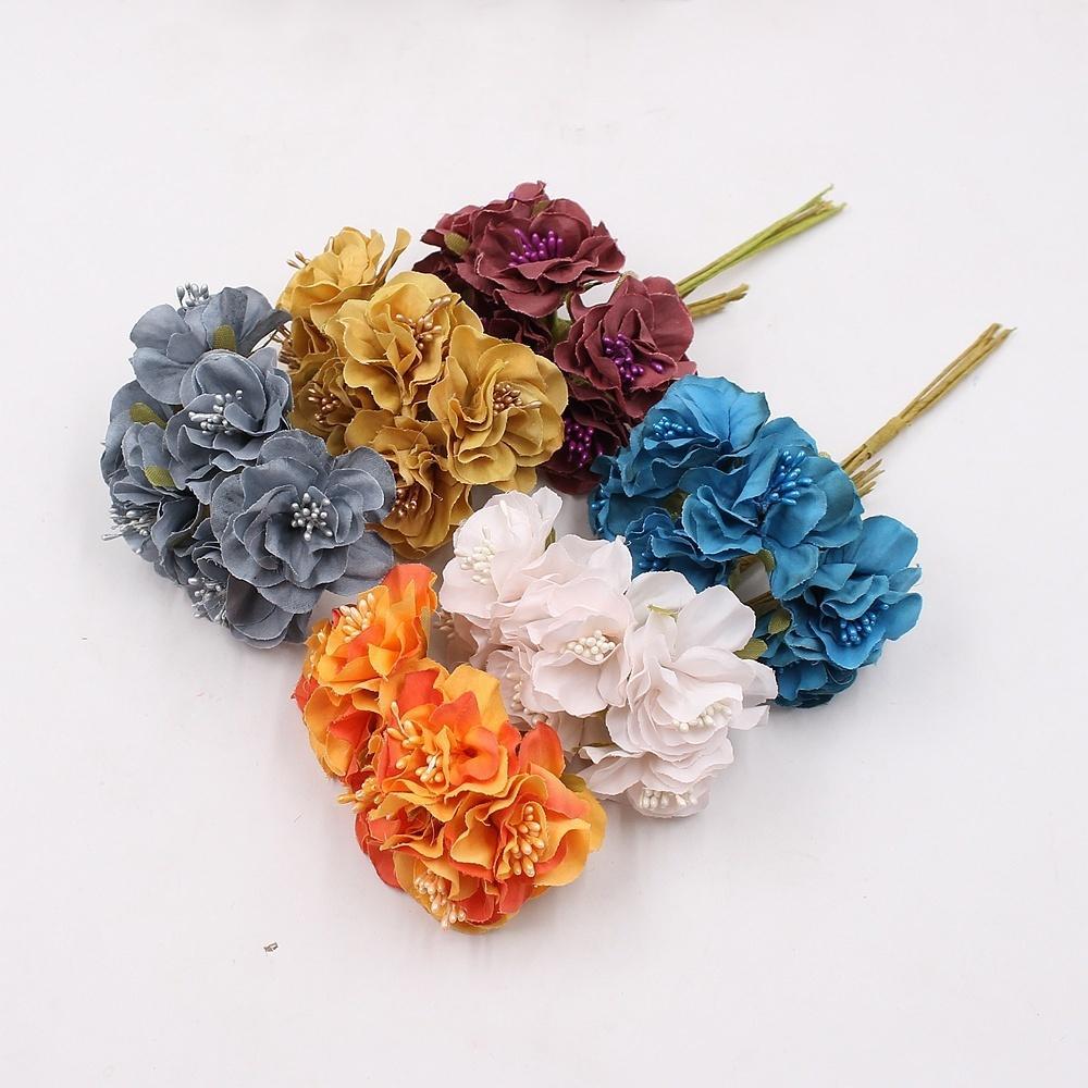 6 stücke 4 cm Seide Sakura Künstlerische Kleine Mohn Bouquet Hochzeitsdekoration DIY Kranz Geschenk Scissor Craft Künstliche Blume
