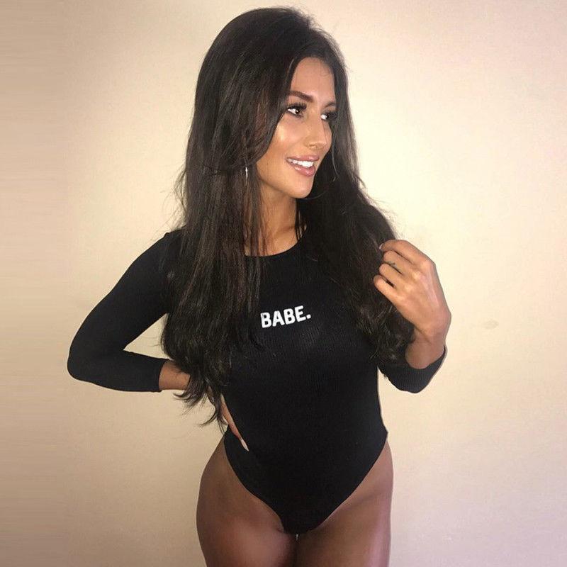 2019 Marca New Womens Longsleeve Bodysuit estiramento Léotard Tops camisetas roupa casual tops