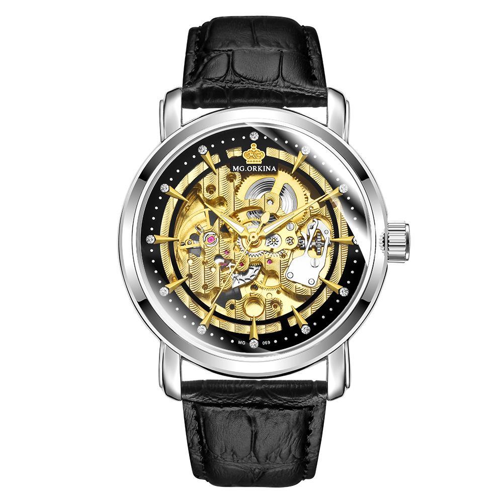 4ebeae530302 Compre ORKINA 2019 Reloj Hombres Correa De Cuero Montre Esqueleto Mecánico  Automático Hombres Reloj Muñeca Correa De Cuero Casual Erkek Kol Saati A   41.72 ...