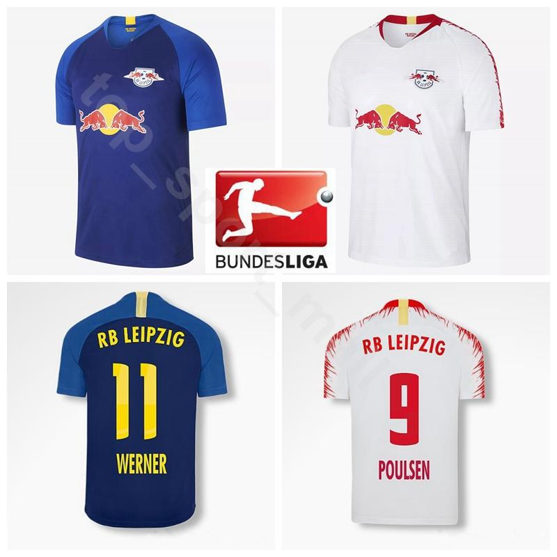 2018 2019 Leipzig FC Soccer 11 WERNER Jersey Men 9 POULSEN 10 FORSBERG 29  AUGUSTIN 7 SABITZER 23 HALSTENBERG Football Shirt Kits Uniform UK 2019 From  ... 483f84abc