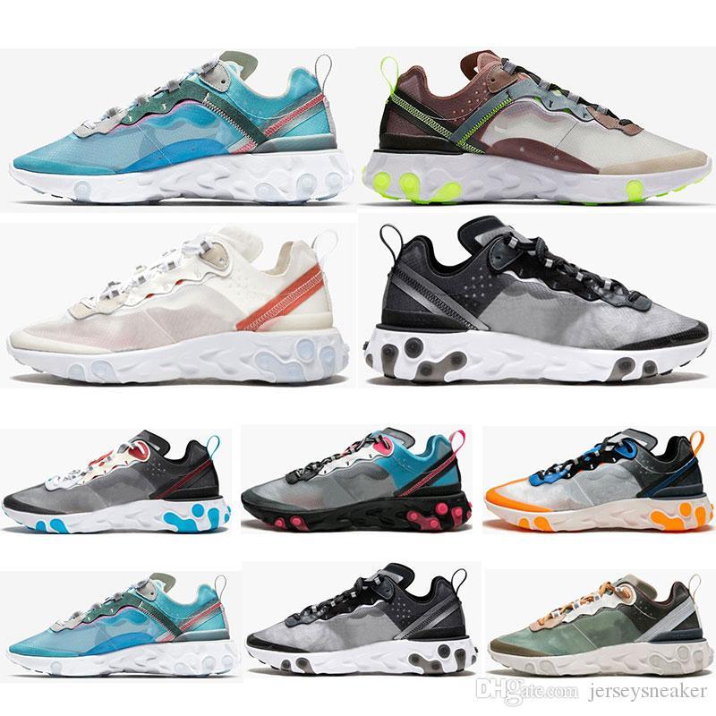 official photos 0a0be a14f7 React Element 87 Running Shoes For Men Women White Black Royal Tint Blue Desert  Sand Mens Designer Breathable Sports Sneaker Size 36 45 Barefoot Running ...
