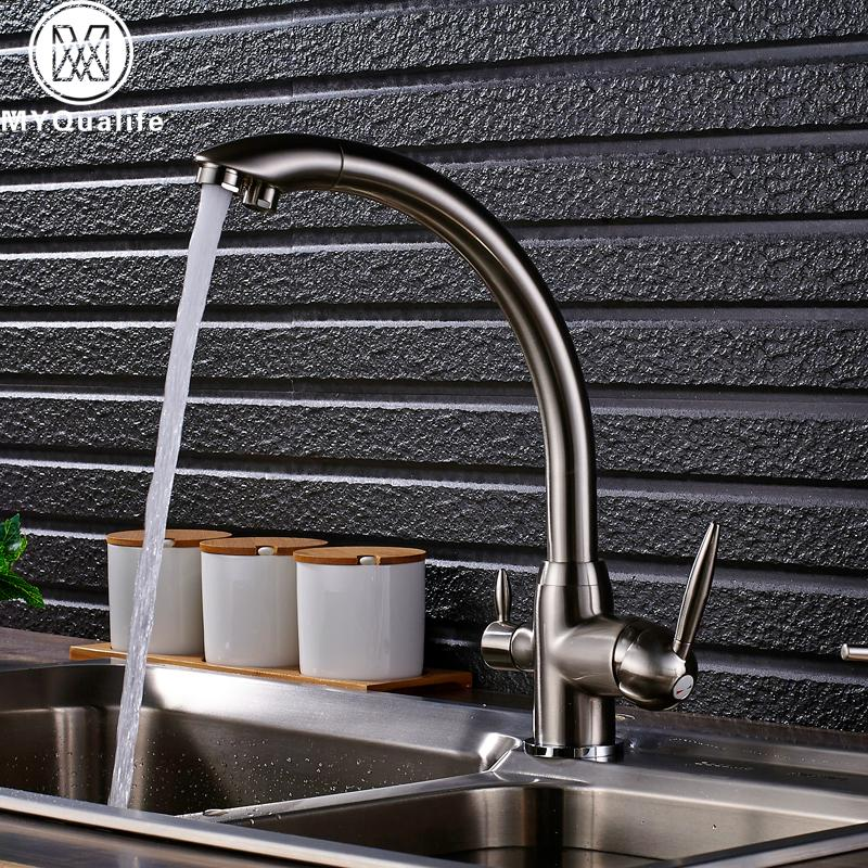 Brand New Kitchen Sink Faucet Tap Pure Water Filter Mixer Crane Dual  Handles Purification Kitchen Hot and Cold Faucet