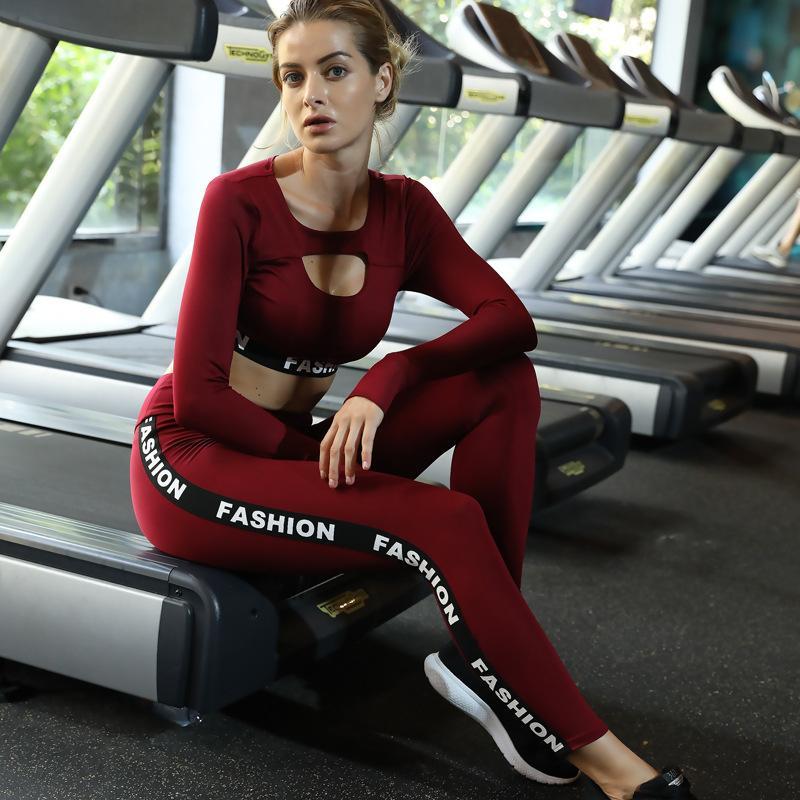 21aa81b67b7cf Compre 2 Unidades Conjunto De Yoga Desgaste Deportivo Mujeres Traje  Deportivo Gimnasio Ropa Deportiva Sujetador Deportivo Sin Costuras Leggings  ...