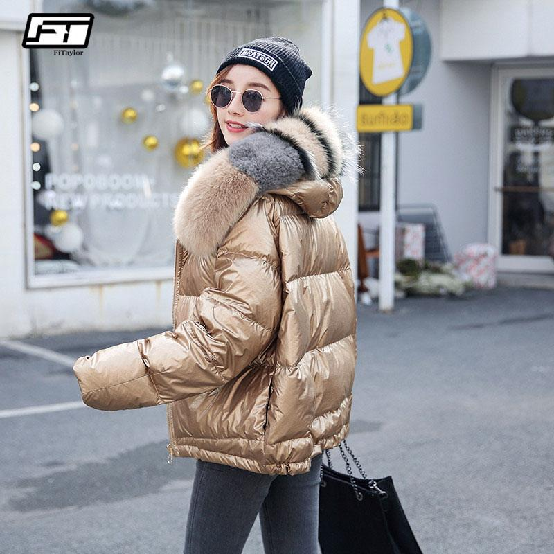 4ecd218052b 2019 Fitaylor Women Double Sided Silver Golden Duck Down Coat Winter Big  Real Fur Collar Waterproof Jacket Hooded Snow Outerwear From Vikey10, ...