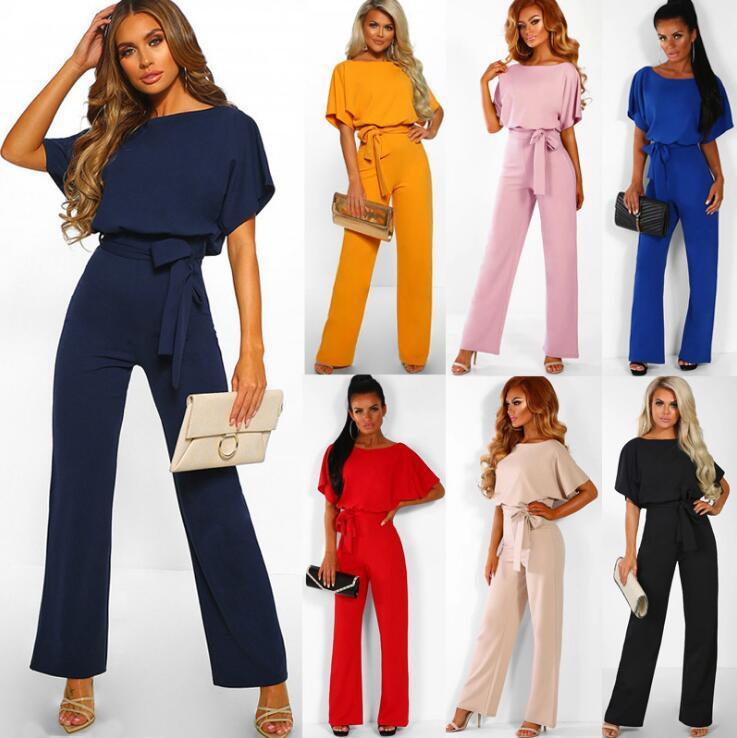 12de9ead2 2019 Women Solid Short Sleeve Jumpsuits Loose Trousers Wide Leg Pants  Rompers Women Office Overalls LJJO6576 From Best_bikini, $12.67 | DHgate.Com