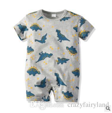 87089002bb4a9 2019 Baby Infant Boy Designer Clothes Cartoon Dinosaur Romper Jumpsuit 2019  Summer Short Sleeve Romper Baby Onesie Infant Toddler Clothing From ...