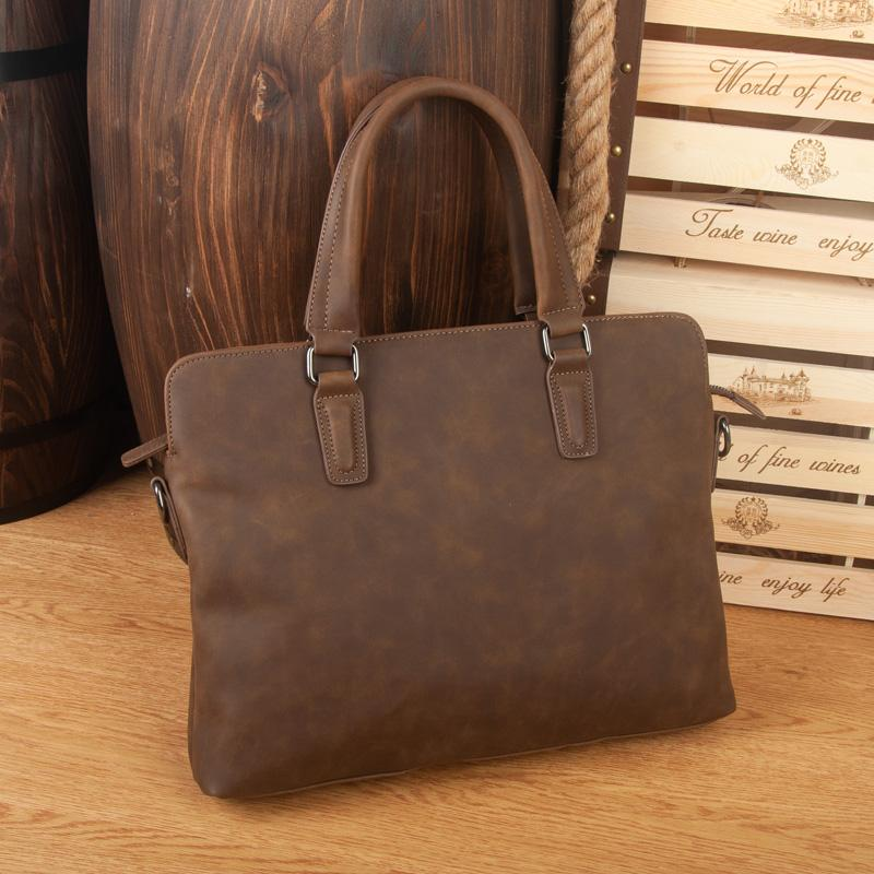 bd0cc4a9f0 Crazy Horse Leather Vintage Briefcase Business Shoulder Bag PU Leather  Briefcases Men Handbag Messenger Bags Laptop Bag Men S Small Briefcase  Womens Leather ...