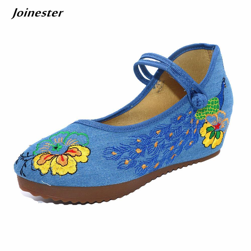 15e6c9dd3b Compre Étnico Bordar Mulheres Bombas De Lona Mary Jane Botão Cunhas Para Senhoras  Sapatos De Plataforma Casuais Dacing Floral Sapato De Salto Alto De Deal8
