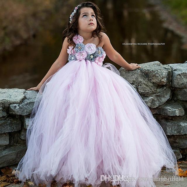 Pink And Grey Flower Girl Tutu Dress Wedding Tulle Dress Girls