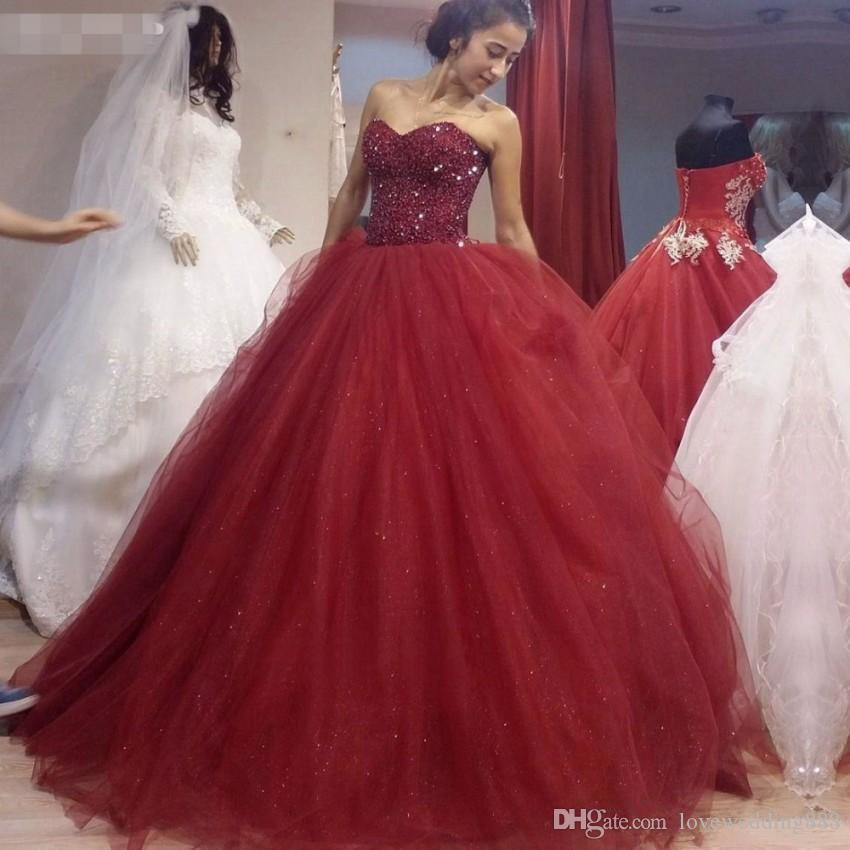 Burgundy Tulle Puffy Quinceanera Dresses Sweetheart Beaded Sequins Formal Party Gowns Long Sweet 16 Prom Special Occasion Dress